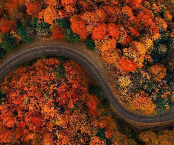 عکس هوایی طبیعت پاییزی در جاده اسالم به خلخال