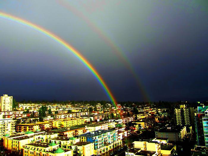 عکس زیبای رنگین کمان در آسمان