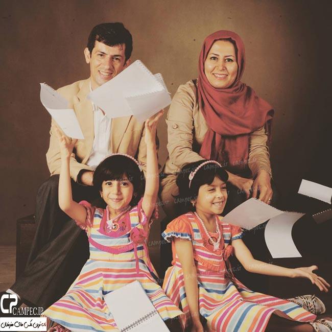 سیروس همتی با همسر و دو دخترش