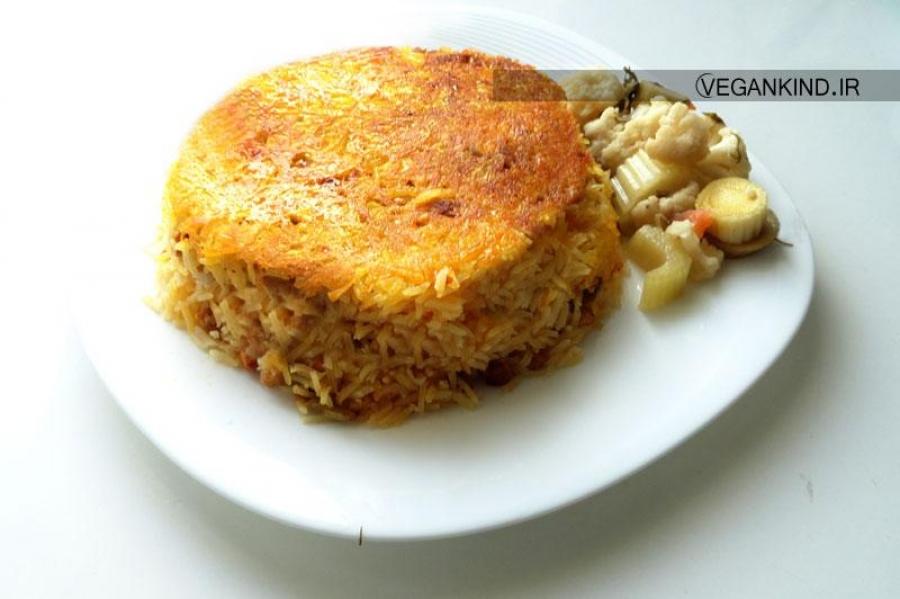 طرز تهیه و دستور پخت لوبیا پلو بدون گوشت , لوبیا پلو با سویا , لوبیا پلو با سیب زمینی