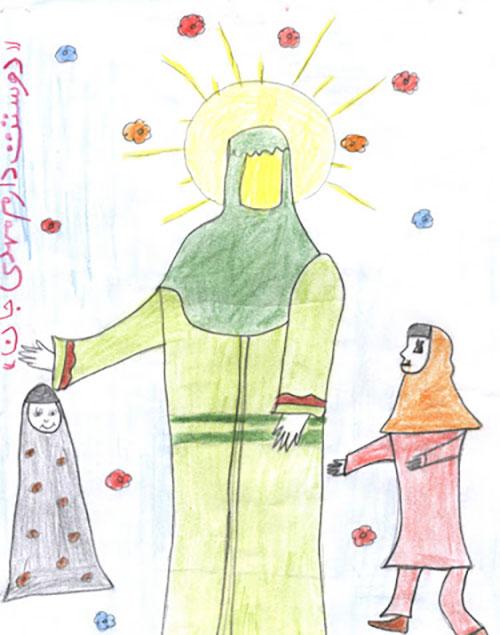 نقاشی کودکانه با موضوع امام زمان عج