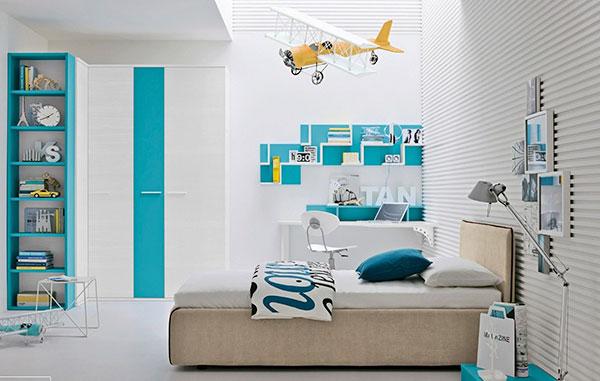 اتاق خواب آبی آسمانی