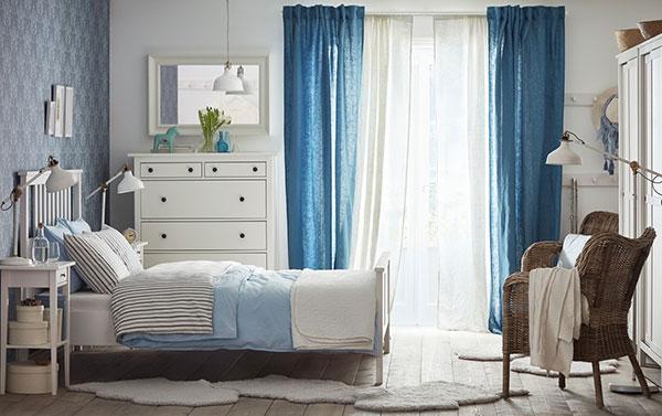 اتاق خواب آبی سفید