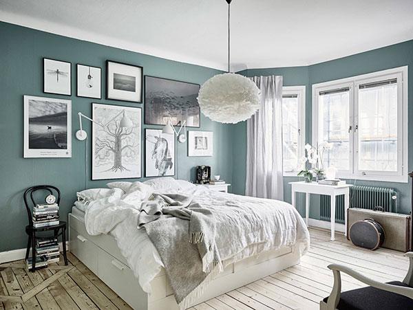 اتاق خواب آبی طوسی