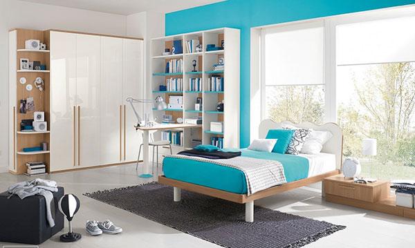 اتاق خواب آبی فیروزه ای