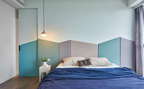 اتاق خواب بنفش و آبی