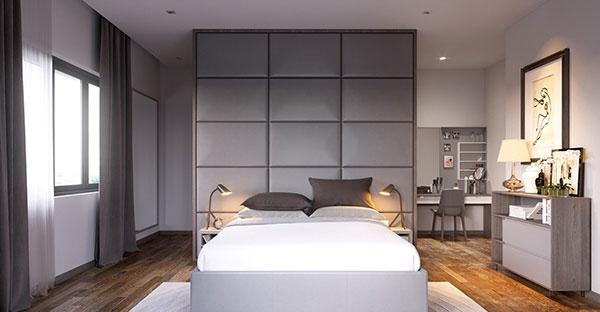 اتاق خواب سفید خاکستری