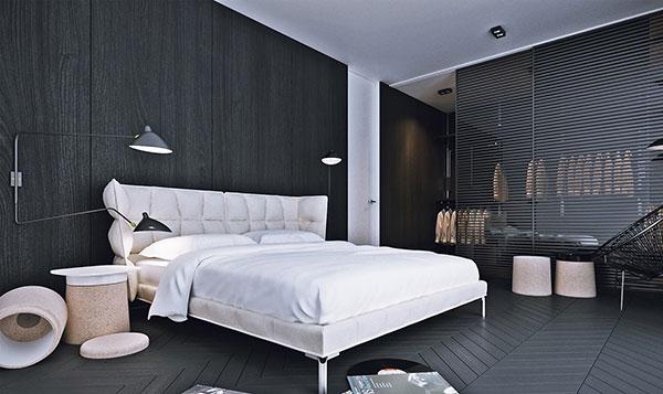 اتاق خواب سفید و مشکی