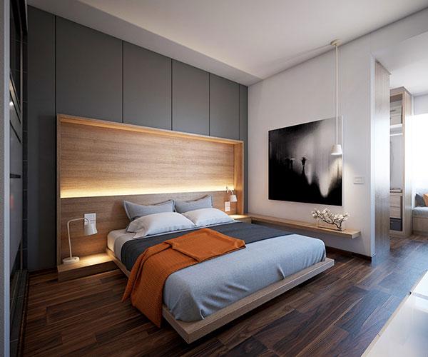اتاق خواب طوسی نارنجی