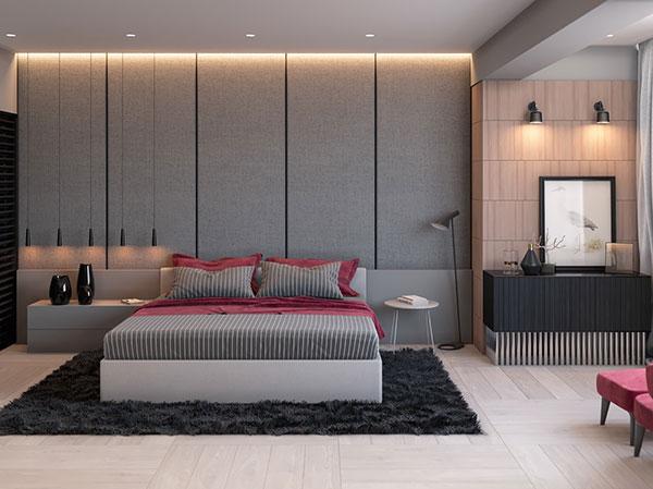 اتاق خواب طوسی قرمز