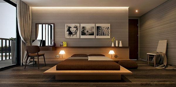 اتاق خواب طوسی قهوه ای