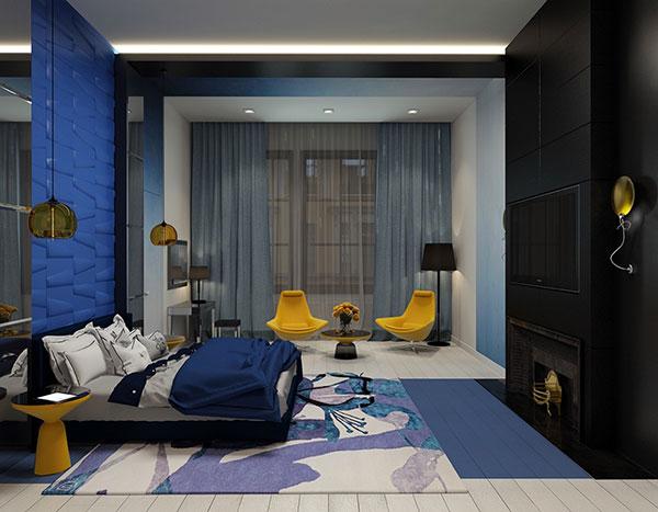 دکوراسیون اتاق خواب آبی و زرد