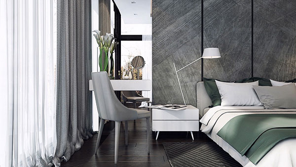 دکوراسیون اتاق خواب با رنگ خاکستری