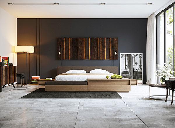 دکوراسیون اتاق خواب سیاه و سفید و قهوه ای