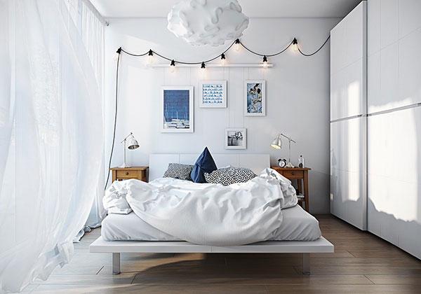 اتاق خواب سفید آبی