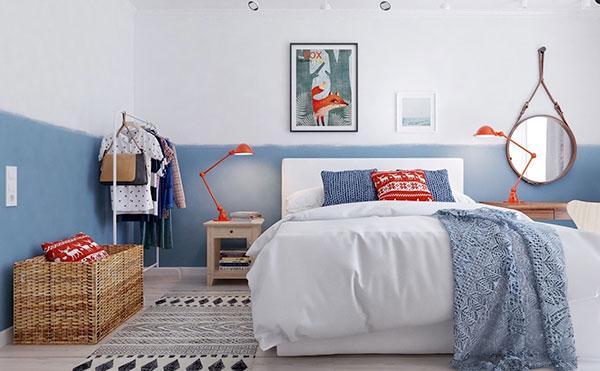دکوراسیون اتاق خواب دخترانه آبی