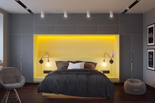 اتاق خواب طوسی زرد