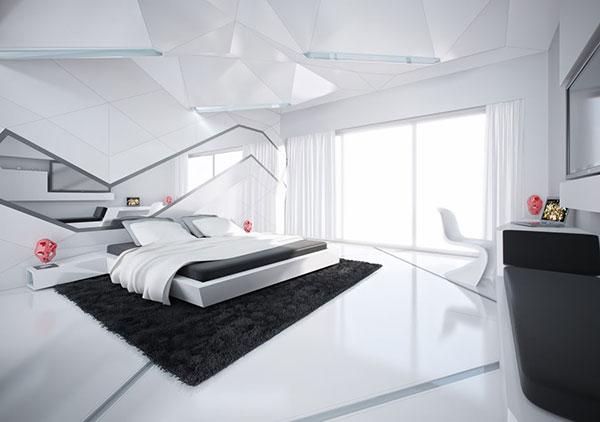 اتاق خواب لوکس سیاه و سفید