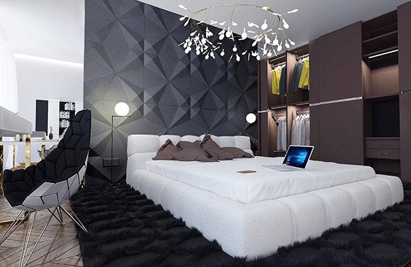 رنگ طوسی دیوار اتاق خواب