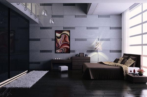 دکوراسیون قهوه ای طوسی اتاق خواب