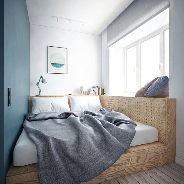 دکوراسیون اتاق خواب کوچک آبی