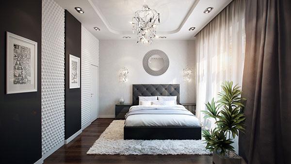 دکور اتاق خواب سفید مشکی