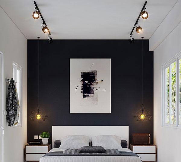 دیزاین اتاق خواب سفید مشکی