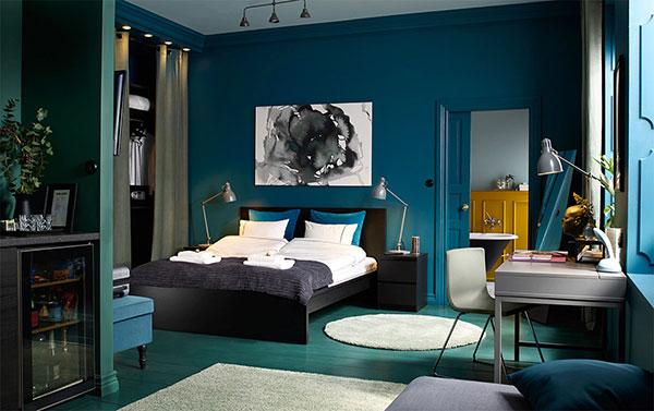 دکوراسیون اتاق خواب به رنگ سبز و آبی