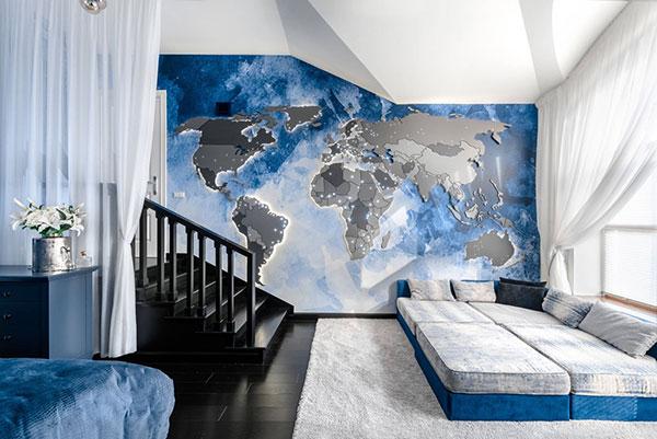 رنگ دیوار اتاق خواب آبی