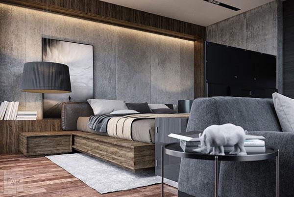رنگ طوسی برای دیوار اتاق خواب