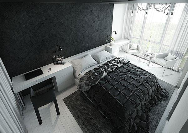 عکس دکوراسیون اتاق خواب سیاه و سفید