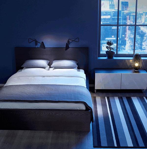 فرش اتاق خواب آبی رنگ