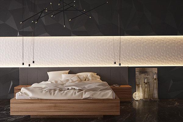 کاغذ دیواری اتاق خواب سیاه و سفید