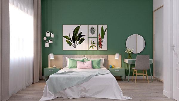اتاق خواب با رنگ سبز