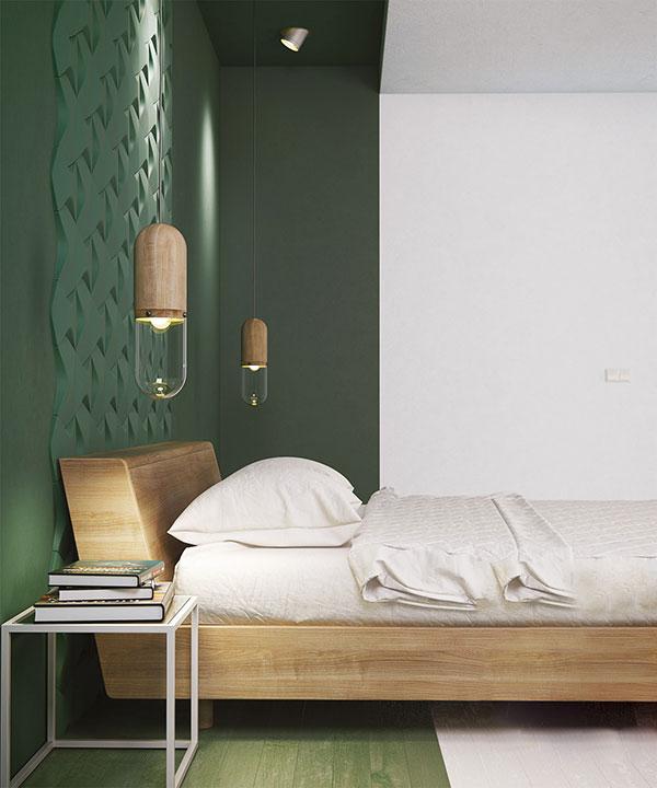 اتاق خواب سبز تیره