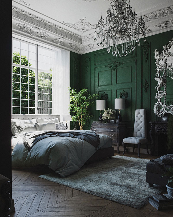 اتاق خواب سبز رنگ