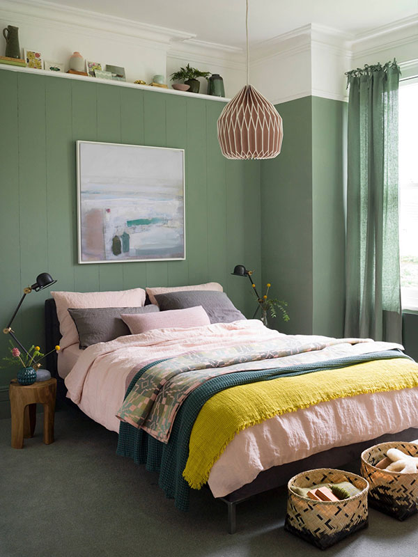 اتاق خواب سبز و زرد