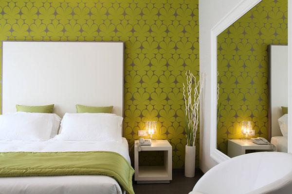 اتاق خواب سبز و سفید