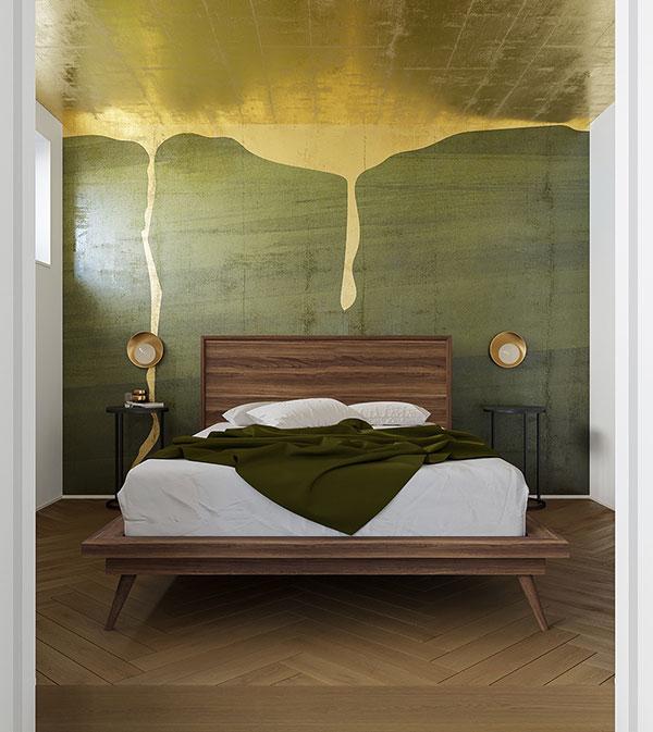 اتاق خواب سبز و طلایی