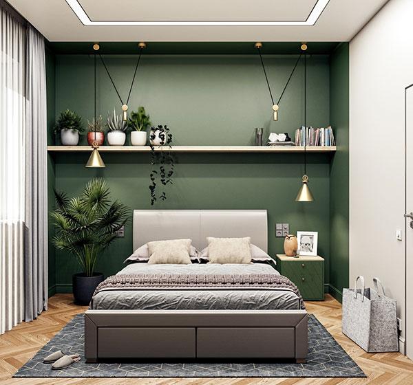 اتاق خواب شیک سبز رنگ