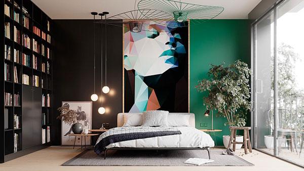 اتاق خواب مشکی و سبز