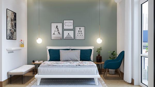 اتاق خواب پسرانه جوان سبز و آبی