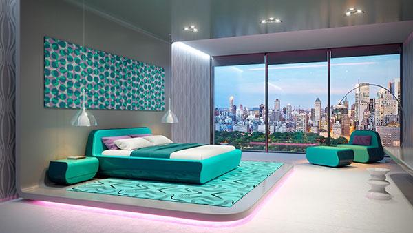 دکوراسیون اتاق خواب به رنگ سبز آبی