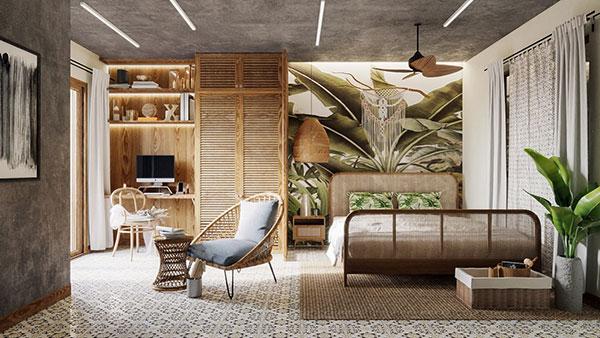 دکوراسیون اتاق خواب ساده و شیک به رنگ سبز