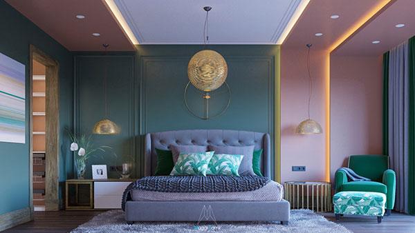دکوراسیون اتاق خواب سبز آبی