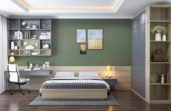 دکوراسیون اتاق خواب سبز و زرد
