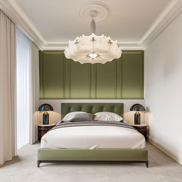دکوراسیون اتاق خواب سفید و سبز