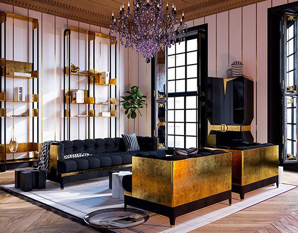 دکوراسیون صورتی طلایی اتاق نشیمن