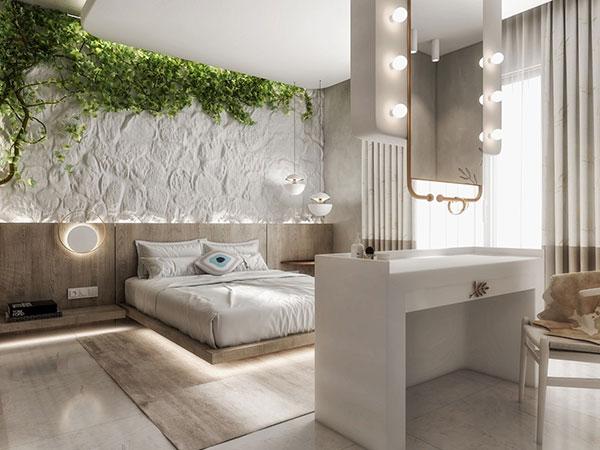 دیزاین اتاق خواب با رنگ سبز