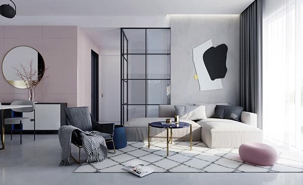 دیوار صورتی آبی اتاق پذیرایی